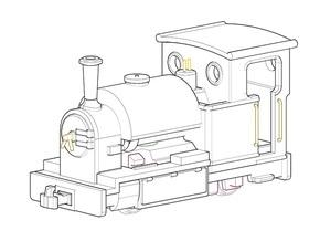 009 Saddle Tank Tram Engine in White Natural Versatile Plastic