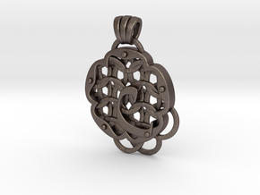 Chain Mail Pendant C in Polished Bronzed-Silver Steel