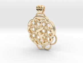 Chain Mail Pendant E in 14k Gold Plated Brass