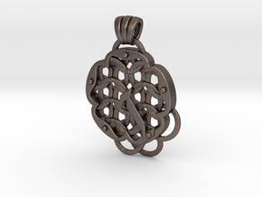 Chain Mail Pendant I in Polished Bronzed-Silver Steel