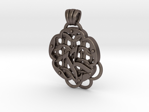 Chain Mail Pendant K in Polished Bronzed-Silver Steel