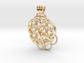 Chain Mail Pendant K in 14k Gold Plated Brass