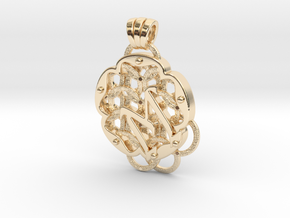 Chain Mail Pendant M in 14k Gold Plated Brass
