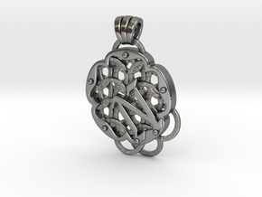 Chain Mail Pendant N in Polished Silver