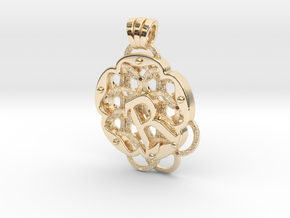 Chain Mail Pendant R in 14k Gold Plated Brass