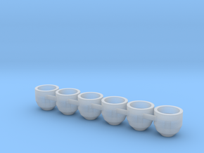 (6) 7mm Flight Stand Magnet Cup in Smooth Fine Detail Plastic