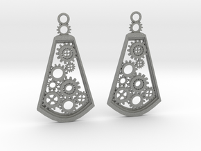 Steampunk earrings in Gray PA12: Medium