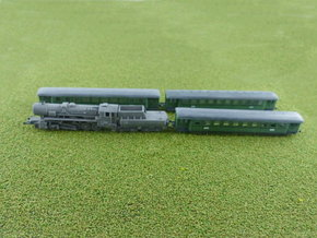 German Br.52 Steamloco with Passenger Cars 1/350 in Smoothest Fine Detail Plastic