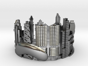 Chicago - Skyline Cityscape Ring  in Polished Silver: 6 / 51.5