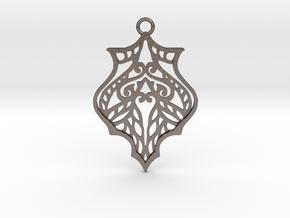 Eris pendant metal in Polished Bronzed-Silver Steel: Large
