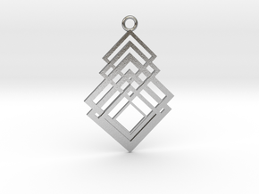 Geometrical pendant no.8 metal in Natural Silver: Medium