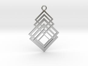 Geometrical pendant no.8 metal in Natural Silver: Medium