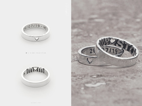 Heart Initial Ring . Custom Personalized Promise in Polished Silver: 5.5 / 50.25
