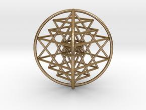 "3D Sri Yantra 4 Sided Optimal 3"" in Polished Gold Steel"