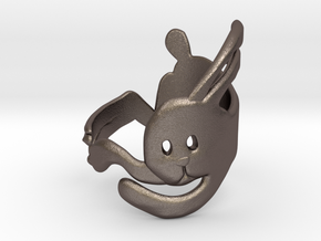Run Rabbit Ring in Polished Bronzed Silver Steel