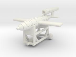 (1:144) V-1 Flying bomb on transport cart in White Natural Versatile Plastic