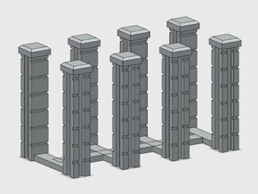 Block Wall Intersection Columns in White Natural Versatile Plastic: 1:87 - HO