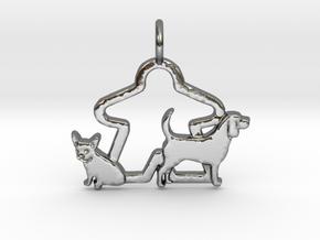 Meeple dog lover pendant gamer necklace in Polished Silver