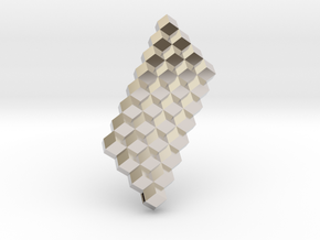 Solid Rhombic Dodecahedron 1inch sm in Rhodium Plated Brass