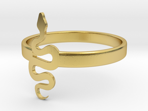 KTFRD05 Filigree Snake Geometric Ring design 3D Pr in Polished Brass