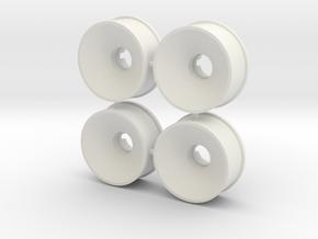 4er Set 19er Felgen 2mm Offset in White Natural Versatile Plastic