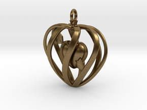 Heart Cage Pendant in Natural Bronze