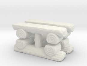 Log Bench (x4) 1/72 in White Natural Versatile Plastic