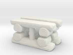 Log Bench (x4) 1/120 in White Natural Versatile Plastic