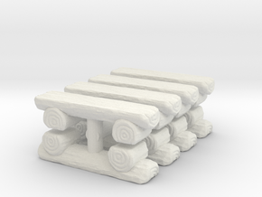 Log Bench (x8) 1/144 in White Natural Versatile Plastic