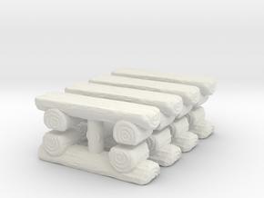 Log Bench (x8) 1/220 in White Natural Versatile Plastic