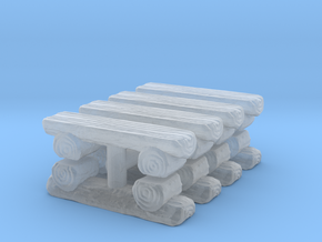 Log Bench (x8) 1/220 in Smooth Fine Detail Plastic