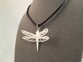 Dragonfly Pendant in White Natural Versatile Plastic