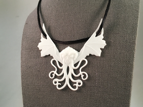 Winged Cthulhu Necklace in White Natural Versatile Plastic