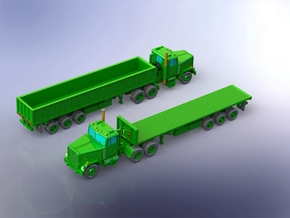 M915 Tractor w. M872 Semitrailers 1/285 in Smooth Fine Detail Plastic