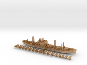 USS Arcturus and landing craft 1:1800 WW2 in Natural Bronze