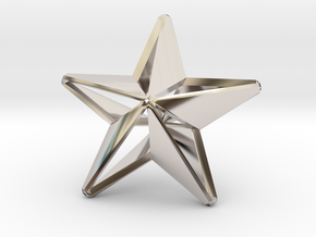 Five pointed star earring - Medium Large 3cm in Rhodium Plated Brass