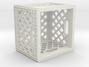 1:12 Scale Milk Crate in White Natural Versatile Plastic: 1:12