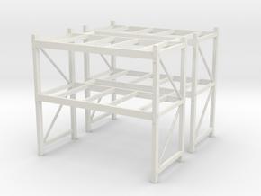 1/87th Shop or Warehouse pallet rack shelving (2) in White Natural Versatile Plastic