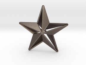Five pointed star earring - Large 5cm in Polished Bronzed-Silver Steel