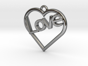 "Heart ""Love"" Pendant in Fine Detail Polished Silver"
