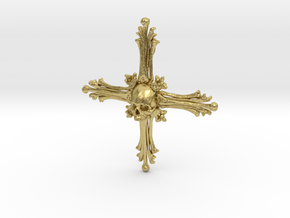 Cross Bone Pendant in Natural Brass