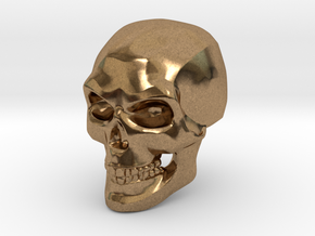 3D Printed Skull - Small in Natural Brass