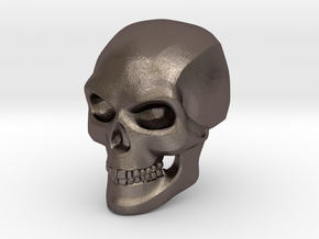 3D Printed Skull - Large in Polished Bronzed Silver Steel