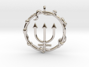 LIQUID Neptune Planetary Jewelry Necklace Symbol in Platinum
