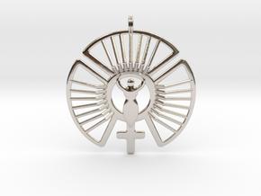 SOLAR FEMININE Venus Jewelry Symbol Necklace. in Platinum