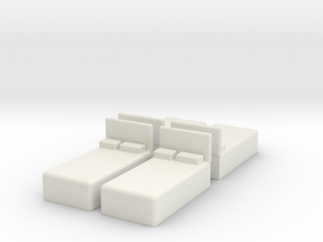 Twin Bed (x4) 1/144 in White Natural Versatile Plastic