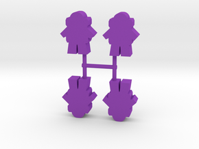 Astronaut Meeple v3, front, 4-set in Purple Processed Versatile Plastic
