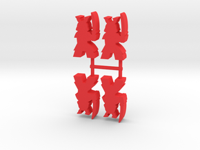 Samurai Meeple, Sword Raised, 4-set in Red Processed Versatile Plastic