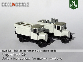 SET 2x Bergmann 2t Meierei C. Bolle (N 1:160) in Smooth Fine Detail Plastic