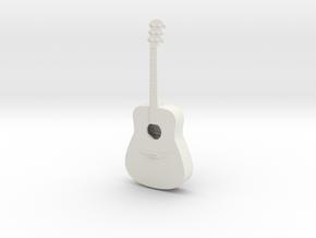 1:18 Scale Acoustic Guitar in White Natural Versatile Plastic